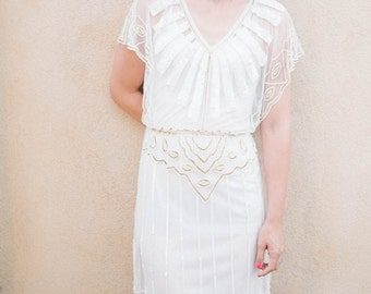 Angel Sleeve White Vintage 20s inspired Uk6 Us2 Aus6 to Uk30 Us26 Aus30 Flapper 20s Great Gatsby Charleston Wedding Mod Bridesmaid Dress New