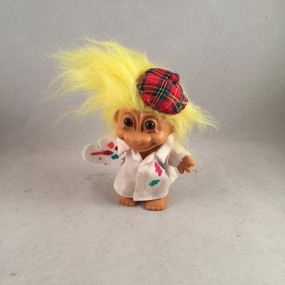 Vintage Russ Troll Doll Berrie Artist/Painter Yellow Hair