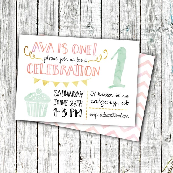 Birthday Party Invitation, Printable Invite, First Birthday, Girl's Birthday Invites, Cupcake, Chevron, Gold, 5x7 or 4x6 digital file #3