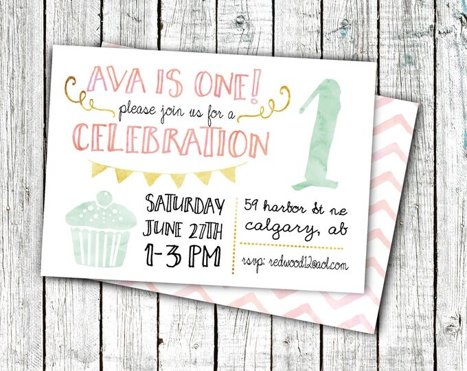 Birthday Party Invitation, Printable Invite, First Birthday, Girl's Birthday Invites, Cupcake, Chevron, Gold, 5x7 or 4x6 digital file #3