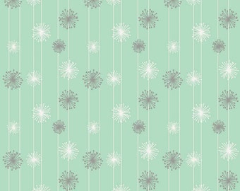 Gender Neutral Fitted Crib Sheets for Standard Size Mattress Gray and White Dandelions on a Mint Background Elastic Closure French Seams