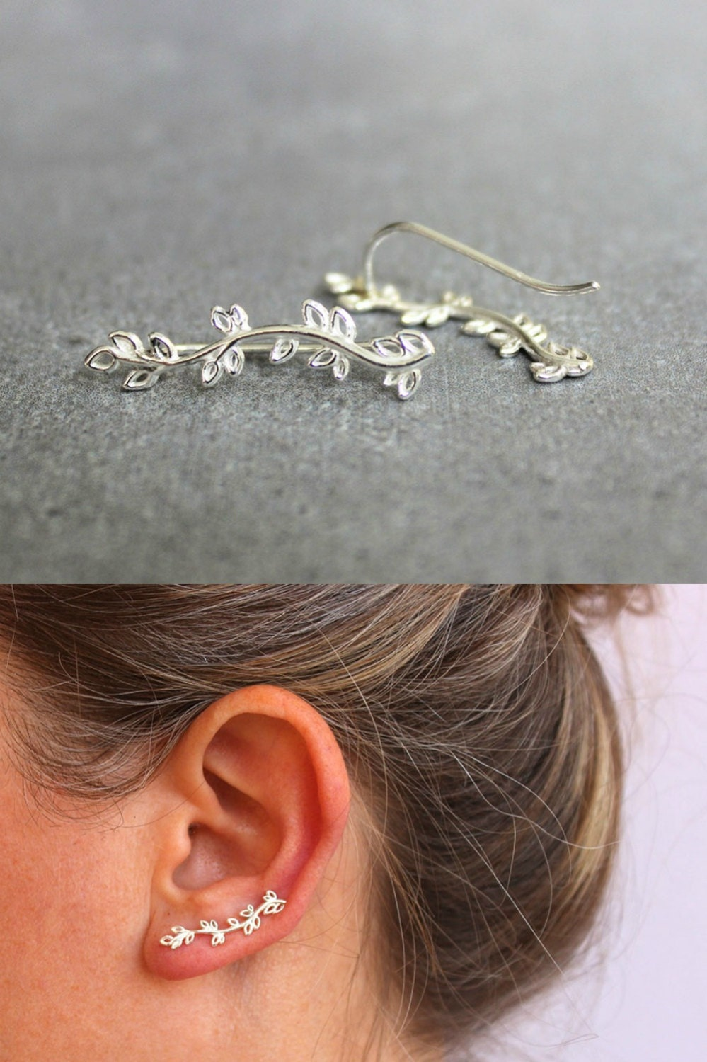 silver ear crawler sterling silver ear cuff nature jewelry. Black Bedroom Furniture Sets. Home Design Ideas