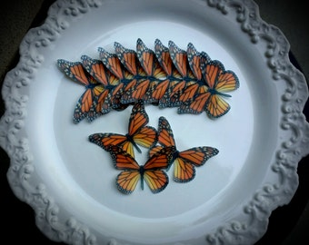 Edible Butterfly Orange Monarch Cake - cupcake topper   Set of 12