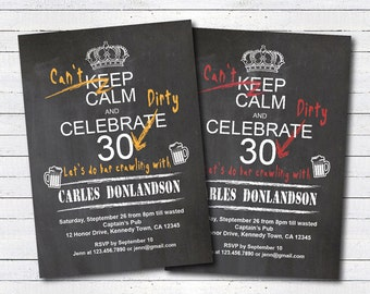 Dirty 30 invitation. Big 30, thirsty thirty invitation. Big 3-0, thirsty 30. Chalkboard man 30th birthday bash printable invitation. AB104