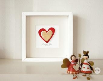 Personalized Wedding, Anniversary gift - Art Frame couple heart gift - customized Paper sculpture 3D - gold-leaf - Handmade - Art Frame