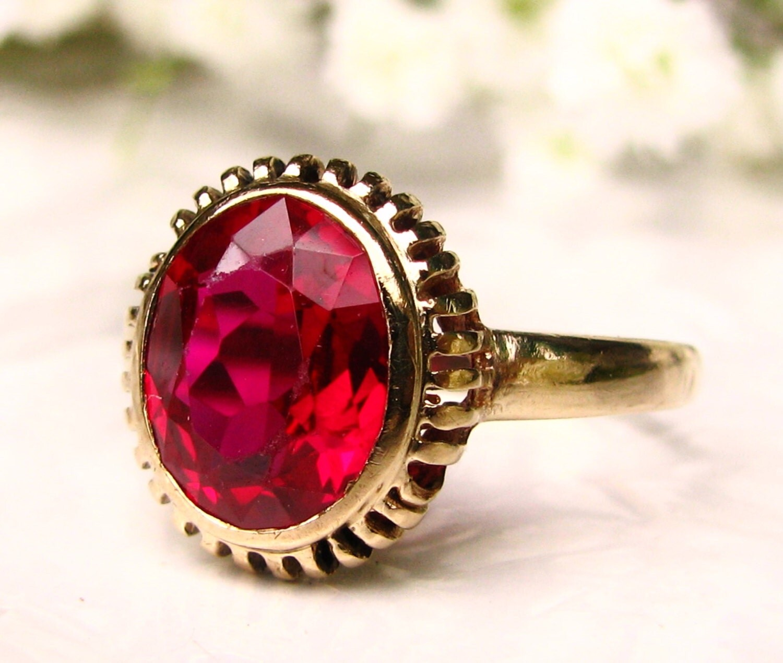 Vintage Ruby Engagement Ring 10K Yellow Gold Filigree 1.86ct