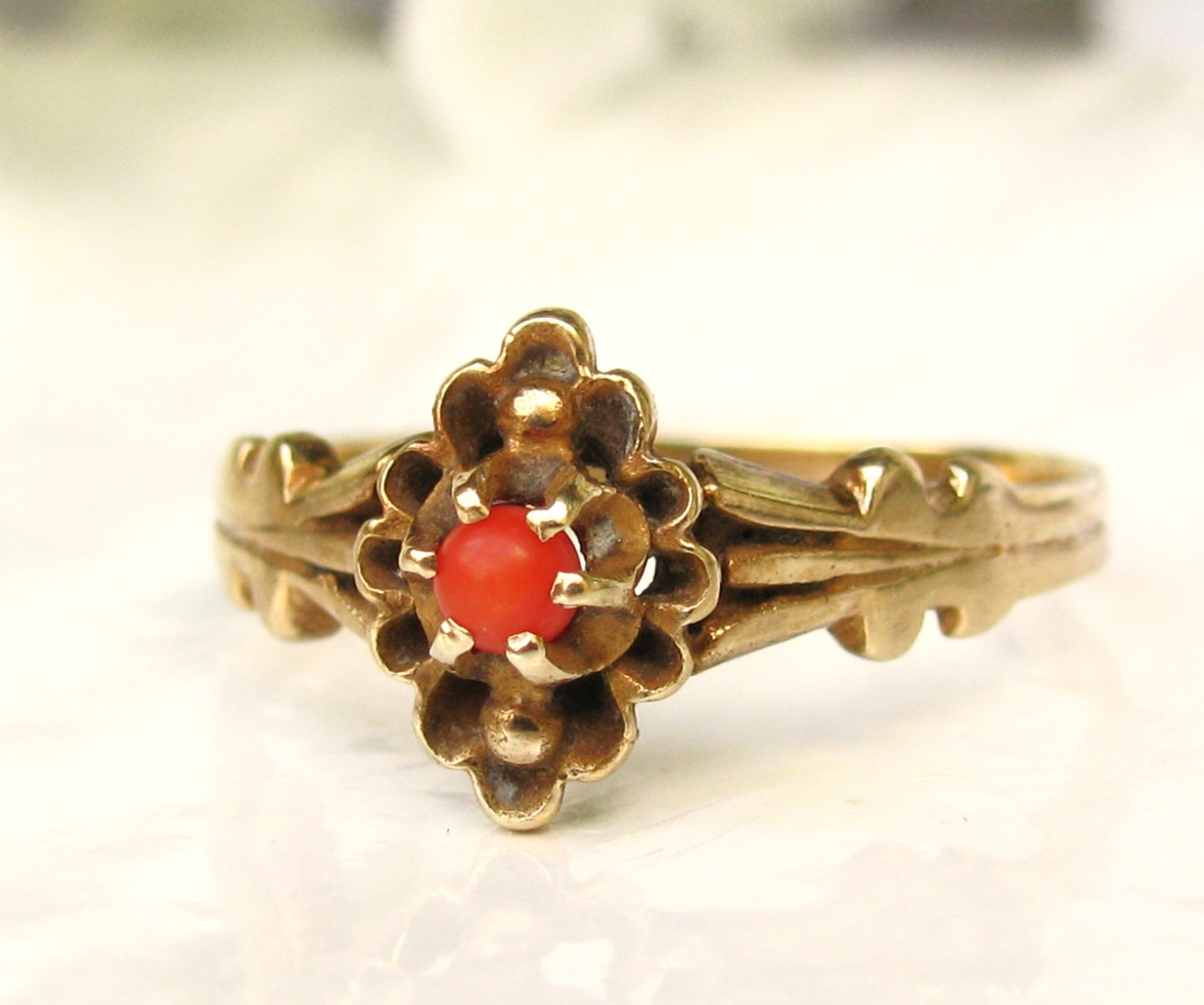 Antique Coral Engagement Ring 14K Yellow Gold Antique Wedding