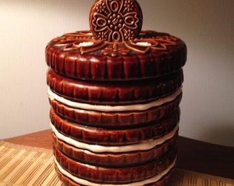Vintage chocolate cookie stack cookie jar