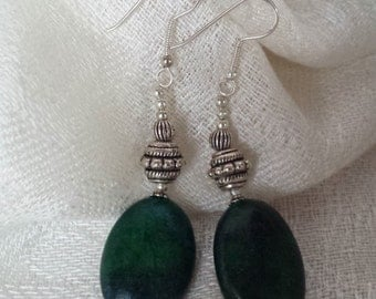 Green and silver beaded earrings