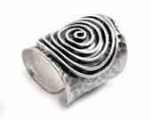 Boho dark Silver Ring,Handmade Hammered Silver Wide Cuff Band ring ,Statement ring, Boho Gypsy long Spiral ring