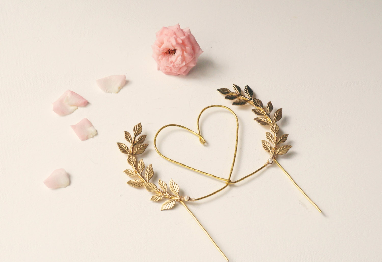 Gold Heart Wedding Cake Toppers Topper And Leaves By