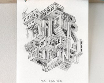 """M.C. Escher   Print """"Are you really sure that a floor..."""" Visual Puzzle, Optical Illusion, Mind Game, Perspective (S, L)"""