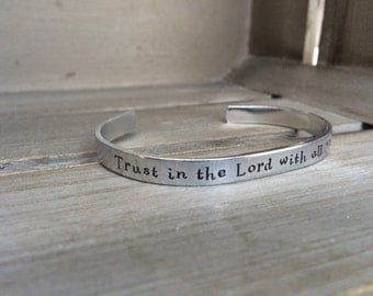Trust in the Lord with All Your Heart Proverbs 3:5 Bible Verse Bracelet Hand Stamped Aluminum Brass Copper Cuff Bracelet