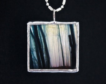 Forest Trees - Microscope Slide Necklace - Double Sided