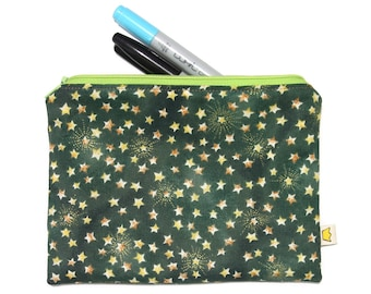 Green zipper pouch, stars pencil case