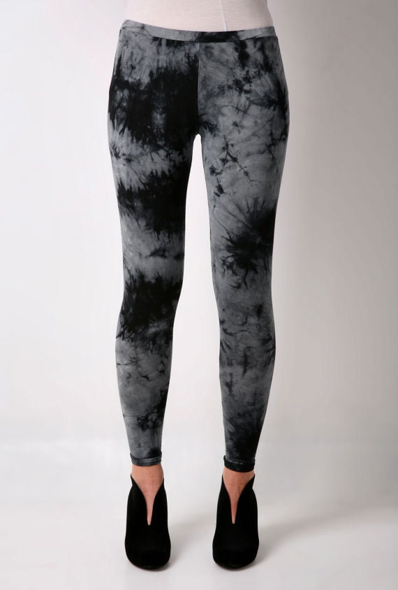 Leggings Black Tie Dye Pants Ladies Black by CardamomClothing