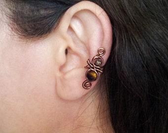 Ear cuff Antique Copper Tigers Eye Ear Wrap