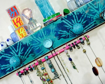 Necklace holder reclaimed wood /jewellry wall hanging organizer/ boho-chic jewelry storage teal bamboo fans 2 hooks 5 knobs & a bracelet bar