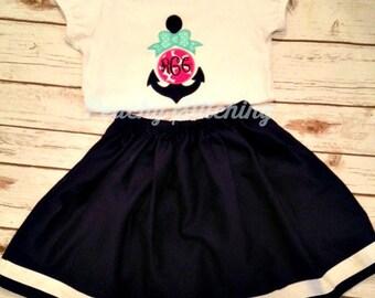 Girls Applique Anchor Shirt and Skirt Set