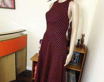 Vintage 60s / 70s polka dot halter neck maxi dress - black and red
