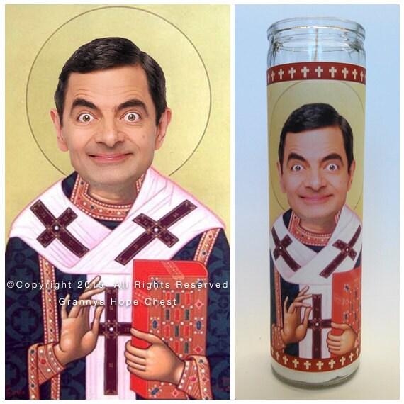Rowan Atkinson Mr. Bean Prayer Candle. Saint By