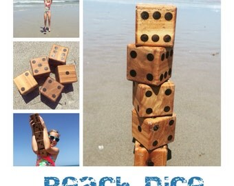 Beach Dice: Wood Dice Lawn Game, Set of 6, Yard Dice, Wooden Dice, Camping Dice, Wedding Lawn Game, Outdoor & Indoor Large Dice