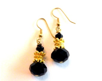 Black Crystals and Gold Dangly Earrings