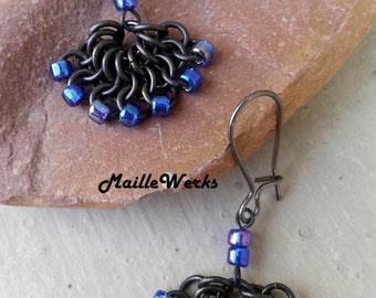 Peacock Blue Iris Fan Dangle Beaded Chainmaille Drop Earrings Handcrafted by Artisan Hanan Hall of Maillewerks