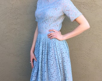 50s Blue Lace Princess Dress, 1950s Circle Skirt Dress, Retro Vintage Frock, Hollywood Glam, Fun Vintage 50s Dress, Wedding Summer Dress, Sm