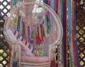 Boho Curtains Gypsy Junk Curtain Hippie Curtains American Dream Decor Rustic Rag Fabric Ribbon Garland  7 ft long Festival Glamping