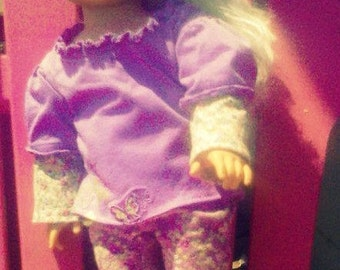 "3 pc purple butterfly outfit for an  18"" doll"