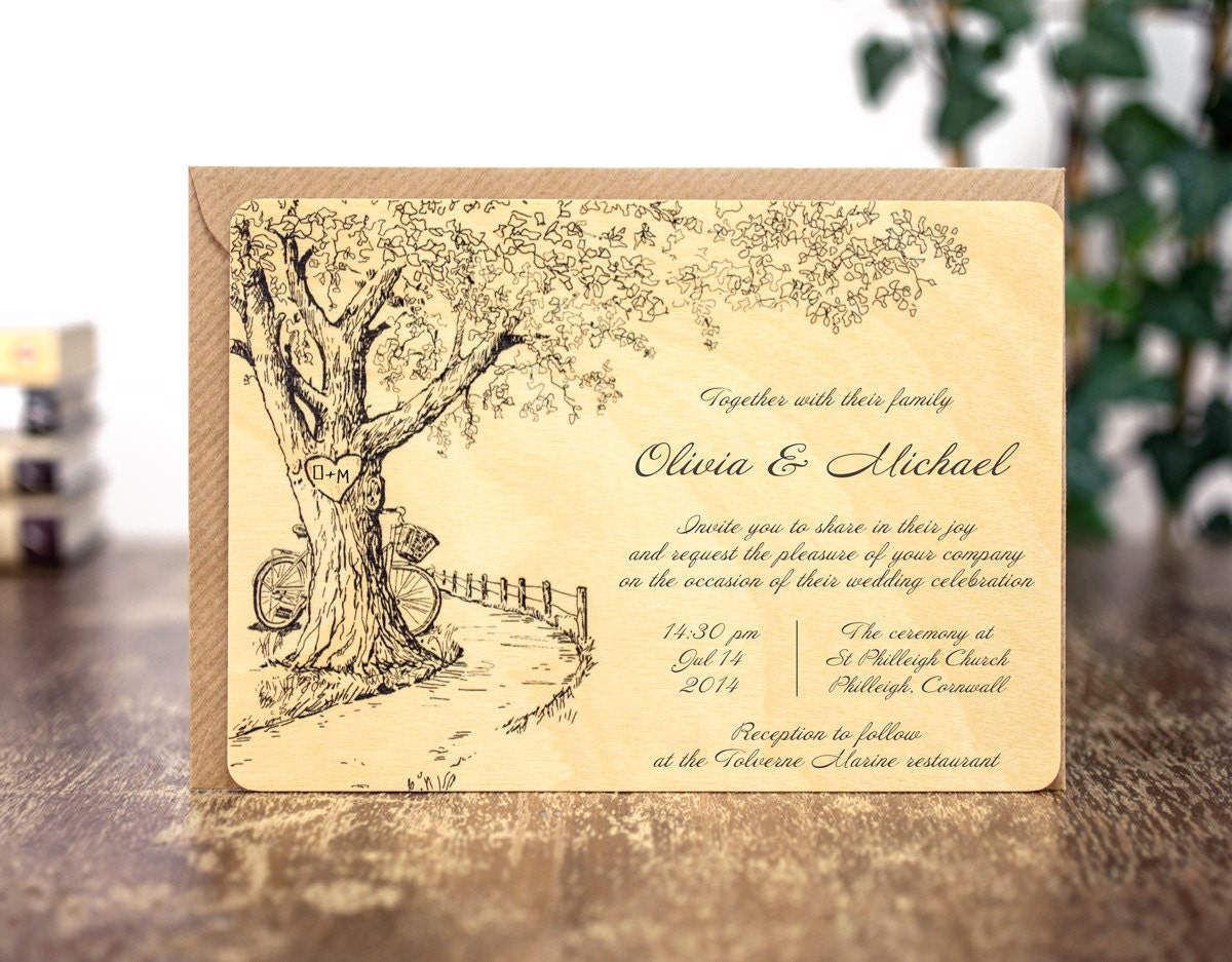 wood wood wedding invitations uk
