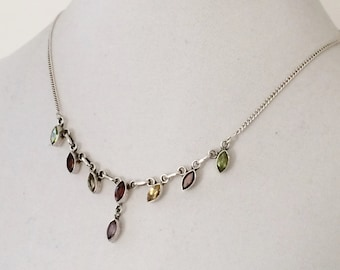 """Sterling Silver And Rhinestone Necklace 17"""""""