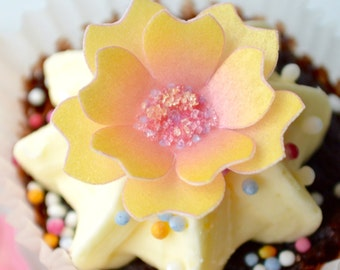 Edible Mango Yellow 3D Flowers - Tropical Blossom Wafer Rice Paper x 24 Wedding Toppers Cake Cupcake Decoration - Sugar Crystal Fruit Cookie