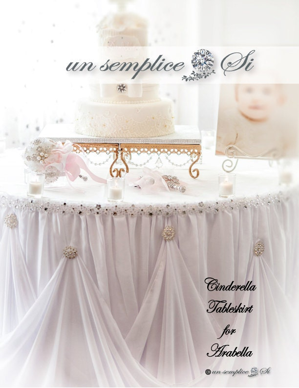 Cinderella Table Skirt Chiffon And Rhinestone Brooches