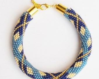 Blue Tartan - beaded crochet rope pattern - diy bracelet - geometric pattern - seed bead bracelet