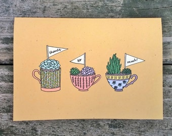 Plant Thank You Card Set, Handmade Thank You Cards, Succulent Cards, Thanks So Much Cards