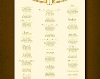 PRINTABLE Wedding Seating Chart • Reception Seating • Alphabetical Seat Assignments • Easy Read Seating • Art Deco • Gatsby • Digital File