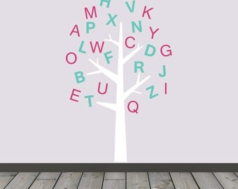 Alphabet Tree Decal Letters Decal Alphabet Decal ABC Decal Learning Wall Decal Reading Wall Decal Nursery Decor Day Care Wall Art