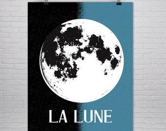 Moon Poster - Large Moon Print - Moon Art Print - Moon Art - Moon Print - Full Moon - Art Print - Large Moon Print - Celestial - La Lune -