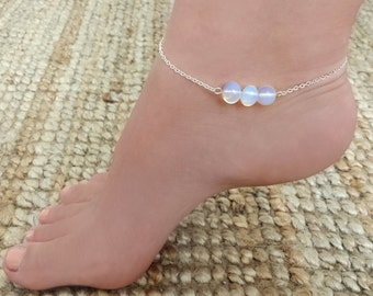Mermaid tears anklet - Silver plated chain anklet with opalite beads