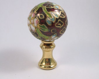 Lamp Finial Cloisonne Sphere with new Brass Hardware.  Maroon Cloisonne Ball Lampshade Finial.  (M5)