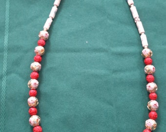 Cloisonne and Cinnabar Necklace