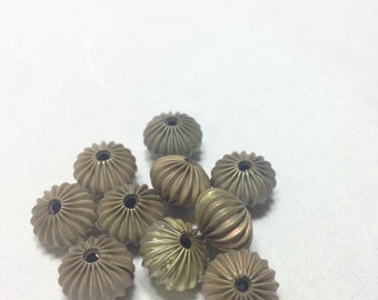 Beads Raw Brass 15mm 10 Pieces Corrugated Jewelry Necklaces Earrings Bracelets Beads Pendants #031