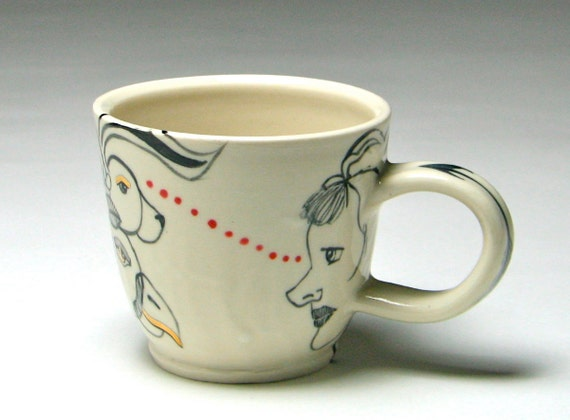 Hand thrown ceramic face mug animal lovers by odysseyclayworks for Animal face mugs