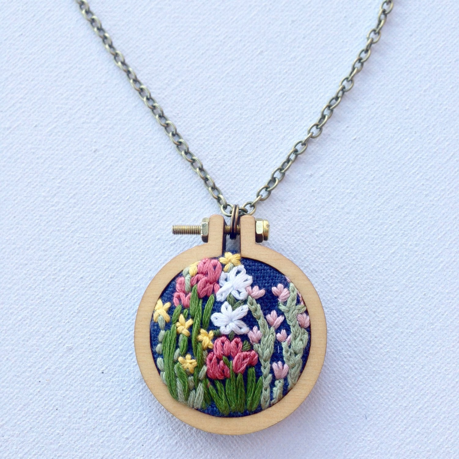 Flower necklace embroidered hand by knottydickens