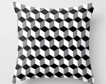 Geometric Cushion, Black White Grey Pillow, Throw Pillow, Modern Cushion, Decorative Cushion Cover, Cushion and Insert, 16x16 18x18 20x20