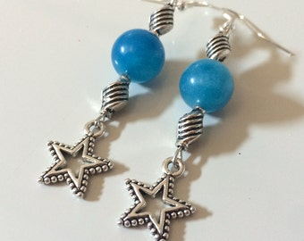 Long stars blue earrings, stars earrings, blue earrings, agate earrings, Christmas gift