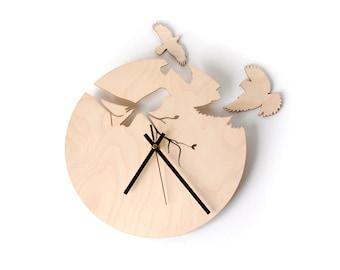 Birds wood wall clock / Laser cut clock / Wood wall clock / Bird wall clock / Unique clock / Unique wall clock / Modern clock