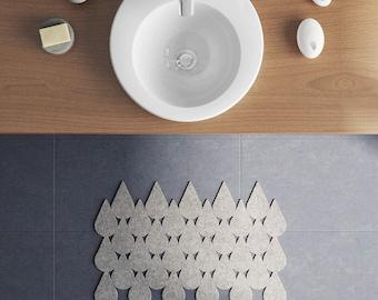 Throw Rug / Bath mat  / Droplets / Wool Felt Rug / Kitchen mat / Nordic design